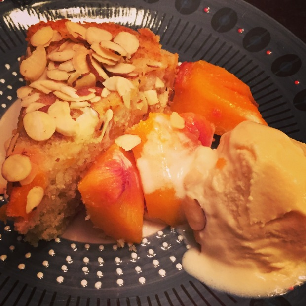 Peach almond buttermilk cake