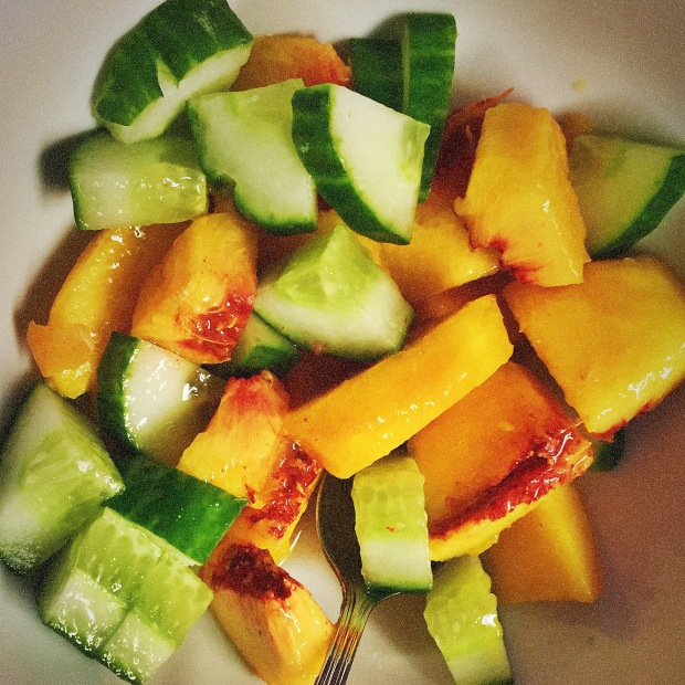 Peach cucumber breakfast